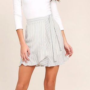 NWT Lulus Walk On Air Striped Wrap Mini Skirt